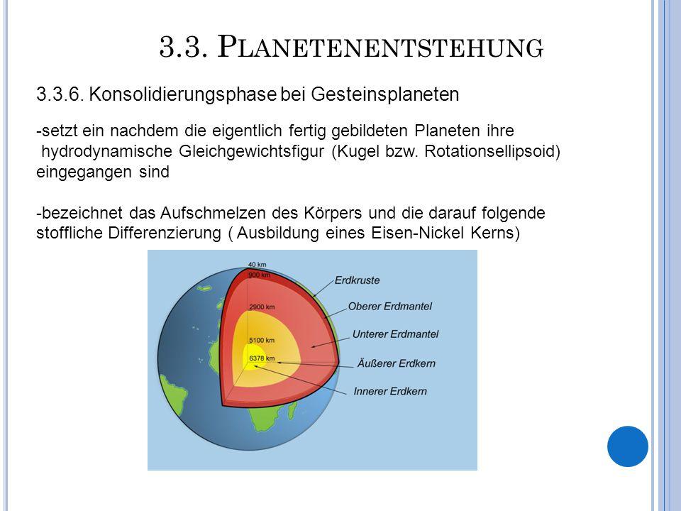 3.3. Planetenentstehung 3.3.6. Konsolidierungsphase bei Gesteinsplaneten. -setzt ein nachdem die eigentlich fertig gebildeten Planeten ihre.