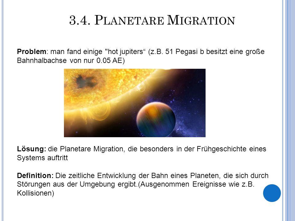 3.4. Planetare Migration Problem: man fand einige hot jupiters (z.B. 51 Pegasi b besitzt eine große Bahnhalbachse von nur 0.05 AE)
