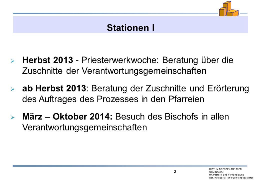 Stationen I Herbst 2013 - Priesterwerkwoche: Beratung über die Zuschnitte der Verantwortungsgemeinschaften.
