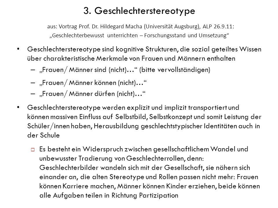 3. Geschlechterstereotype aus: Vortrag Prof. Dr