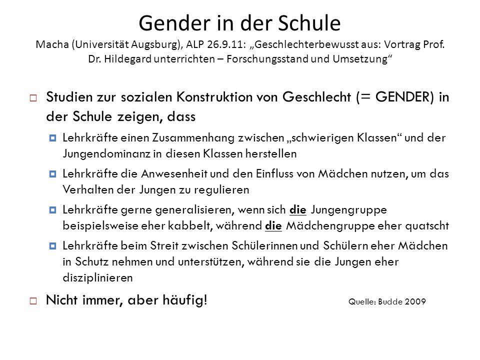 Gender in der Schule Macha (Universität Augsburg), ALP 26. 9