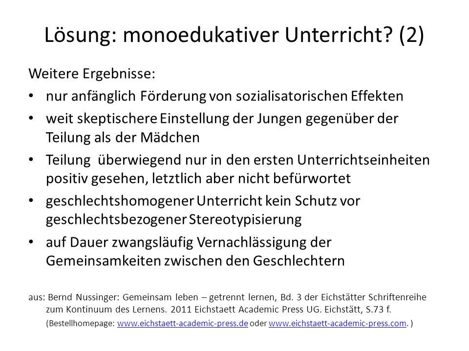 Lösung: monoedukativer Unterricht (2)