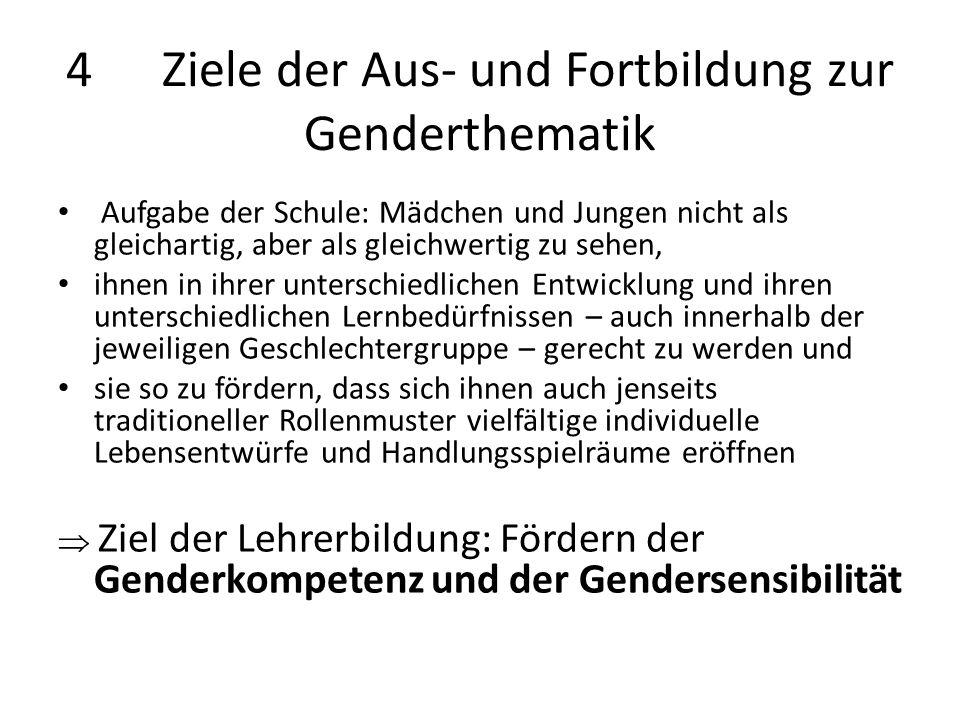 4 Ziele der Aus- und Fortbildung zur Genderthematik