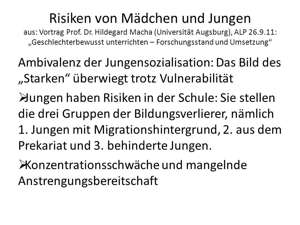 Risiken von Mädchen und Jungen aus: Vortrag Prof. Dr
