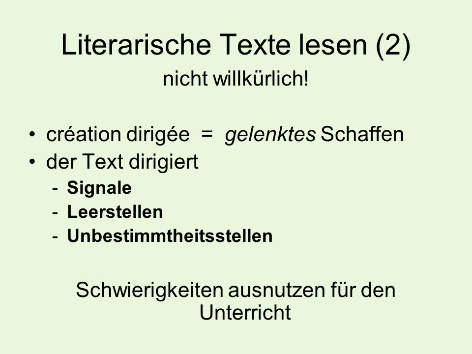 Literarische Texte lesen (2)