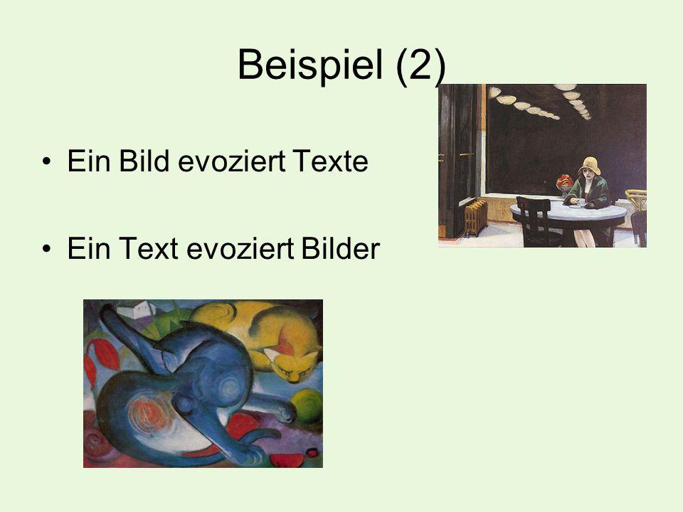 Beispiel (2) Ein Bild evoziert Texte Ein Text evoziert Bilder