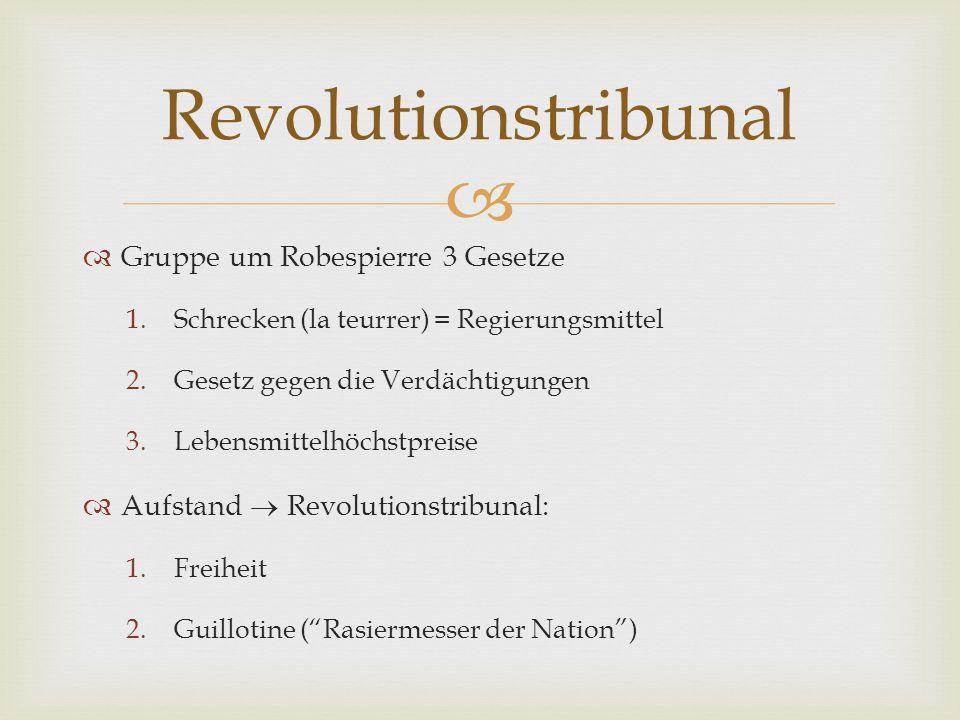 Revolutionstribunal Gruppe um Robespierre 3 Gesetze