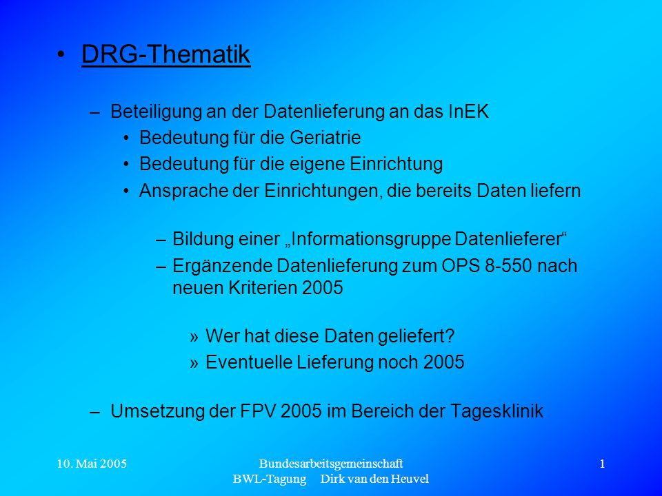 Bundesarbeitsgemeinschaft BWL-Tagung Dirk van den Heuvel