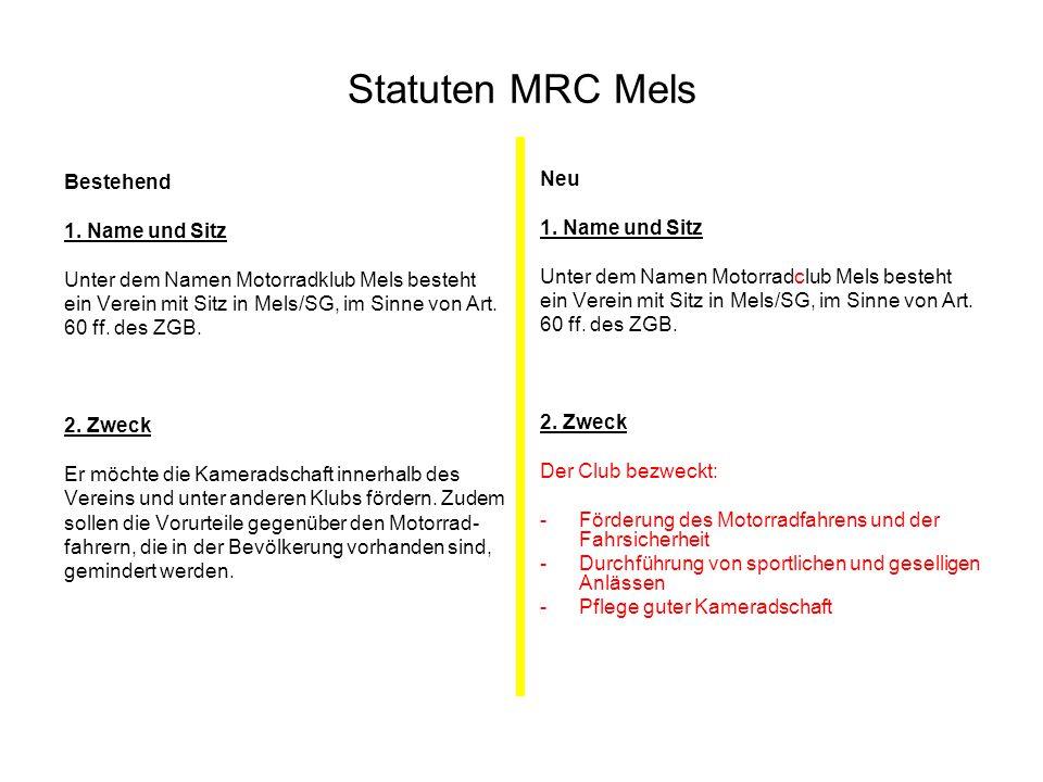 Statuten MRC Mels Bestehend Neu 1. Name und Sitz 1. Name und Sitz