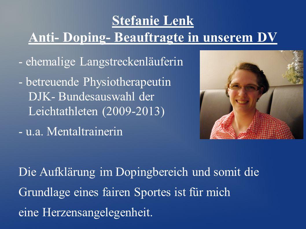Stefanie Lenk Anti- Doping- Beauftragte in unserem DV
