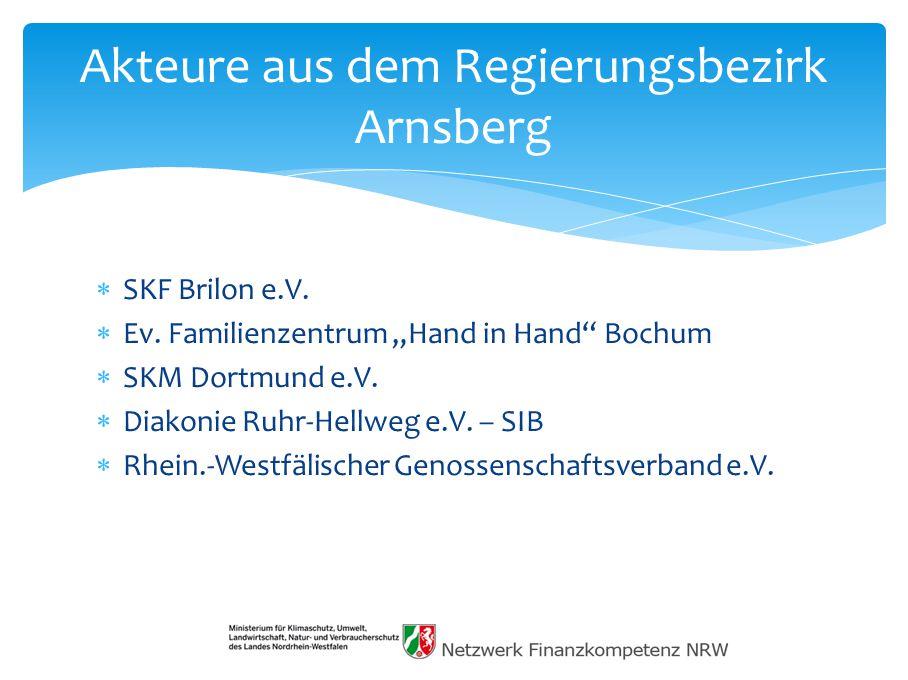 Akteure aus dem Regierungsbezirk Arnsberg