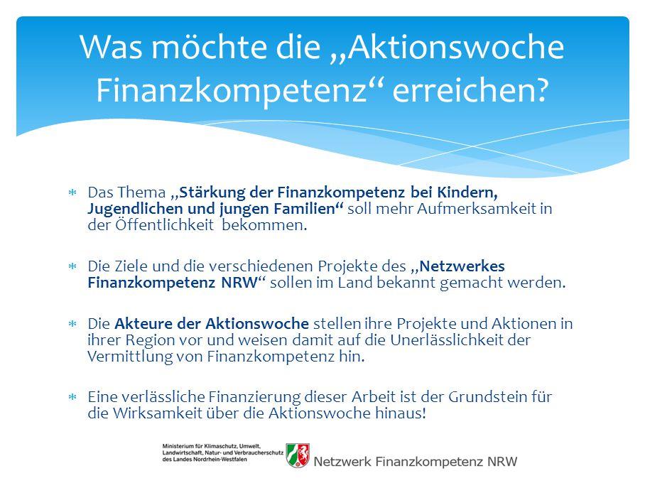 """Was möchte die """"Aktionswoche Finanzkompetenz erreichen"""