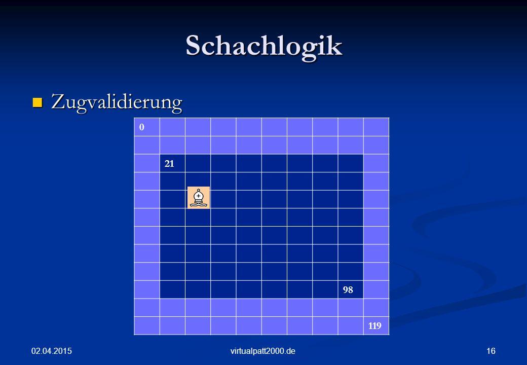 Schachlogik Zugvalidierung 21 98 119 09.04.2017 virtualpatt2000.de