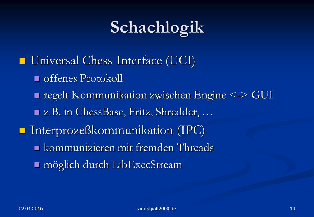 Schachlogik Universal Chess Interface (UCI)