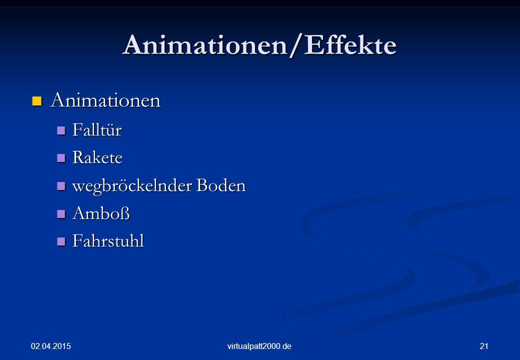 Animationen/Effekte Animationen Falltür Rakete wegbröckelnder Boden