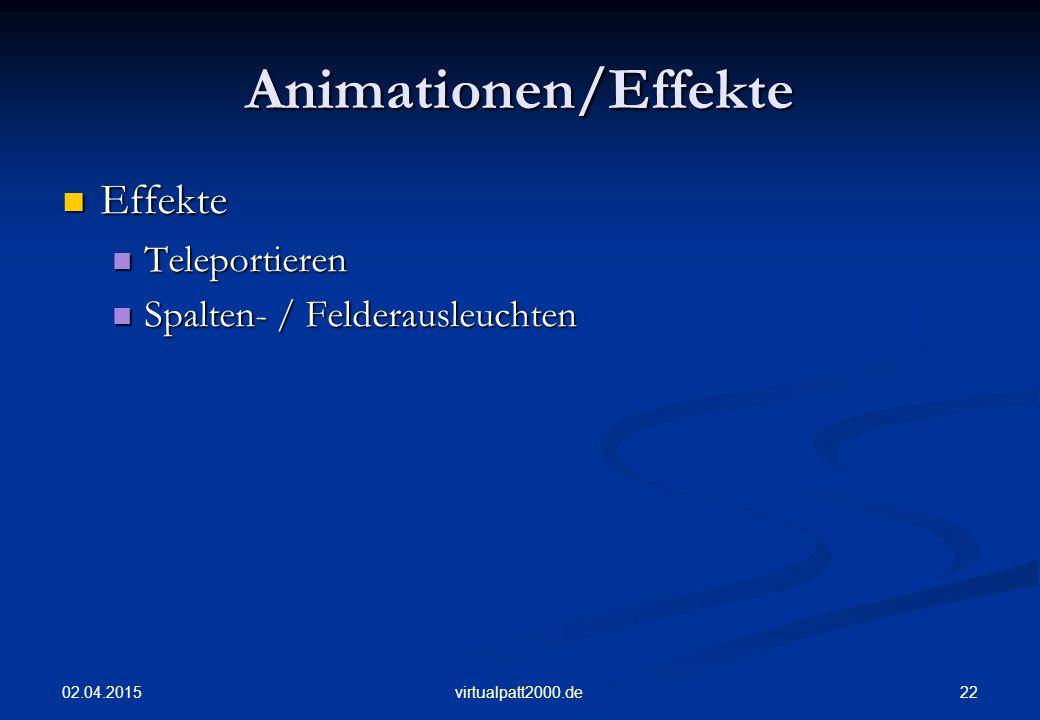 Animationen/Effekte Effekte Teleportieren Spalten- / Felderausleuchten