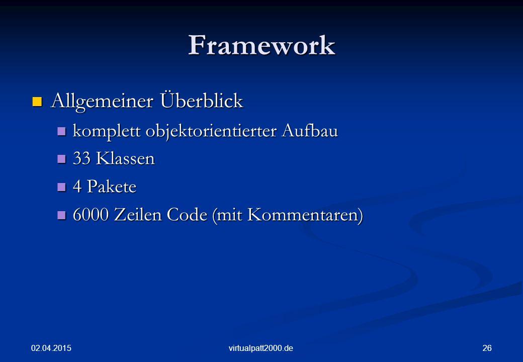 Framework Allgemeiner Überblick komplett objektorientierter Aufbau