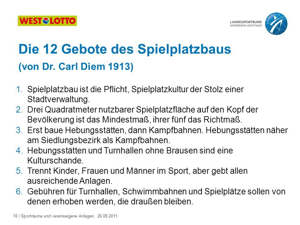 Die 12 Gebote des Spielplatzbaus (von Dr. Carl Diem 1913)