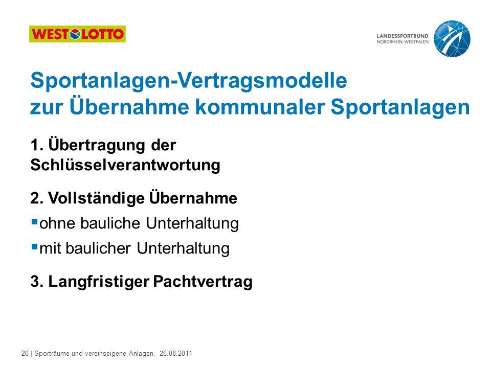 Sportanlagen-Vertragsmodelle zur Übernahme kommunaler Sportanlagen