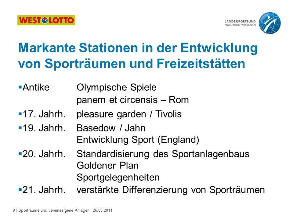 Markante Stationen in der Entwicklung von Sporträumen und Freizeitstätten