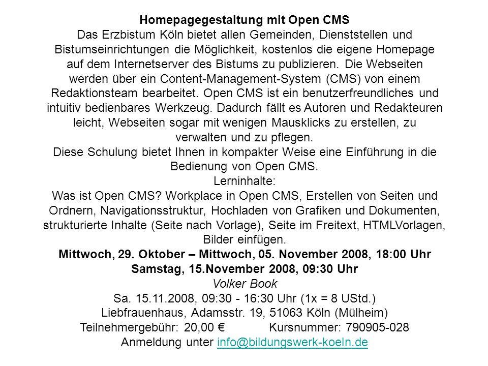 Homepagegestaltung mit Open CMS