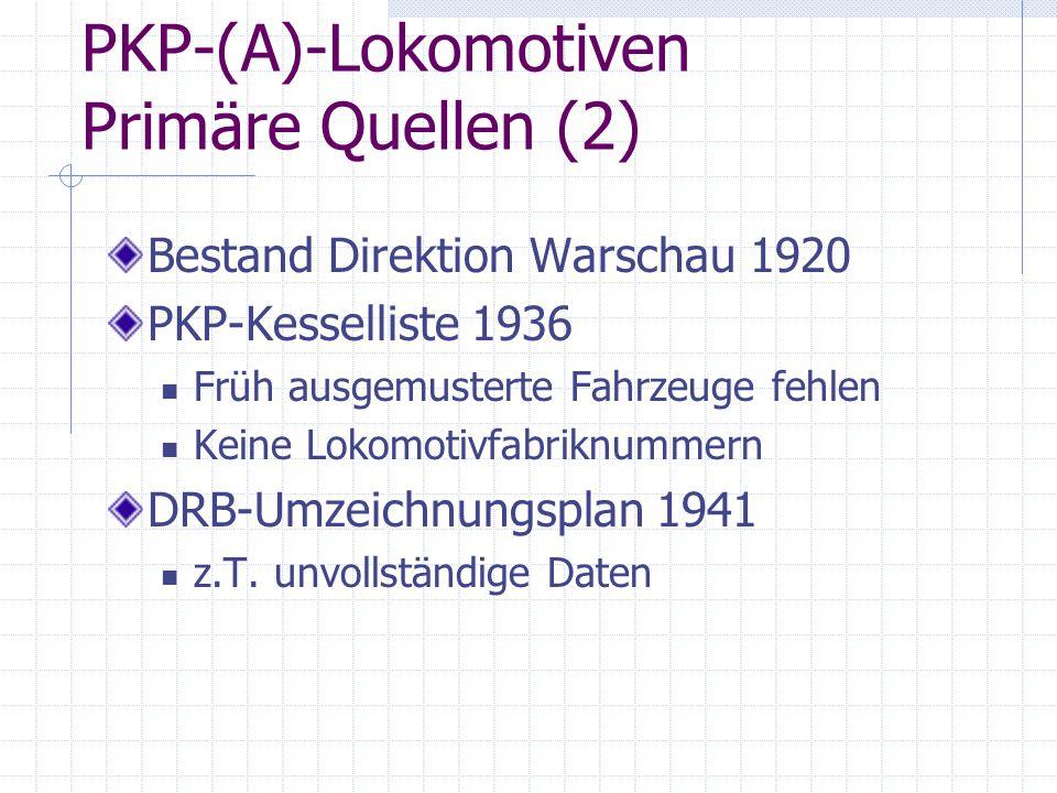 PKP-(A)-Lokomotiven Primäre Quellen (2)