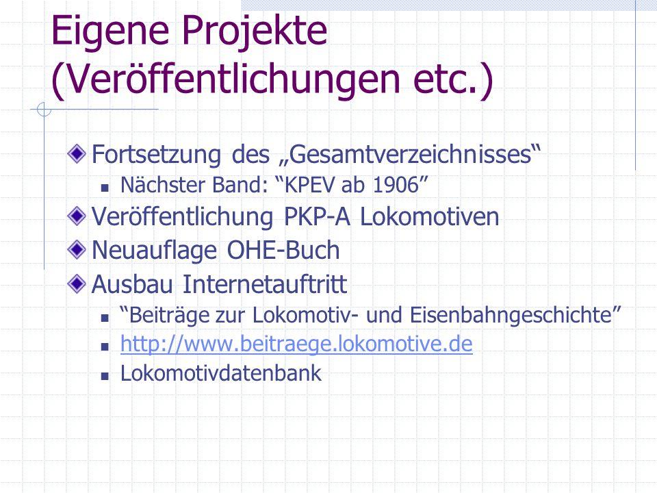 Eigene Projekte (Veröffentlichungen etc.)