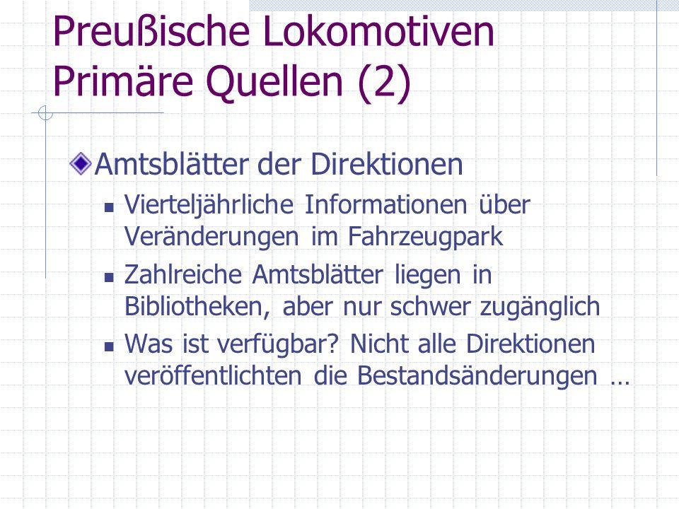 Preußische Lokomotiven Primäre Quellen (2)
