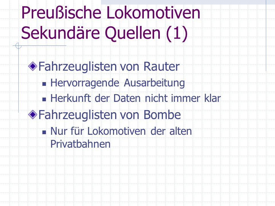 Preußische Lokomotiven Sekundäre Quellen (1)