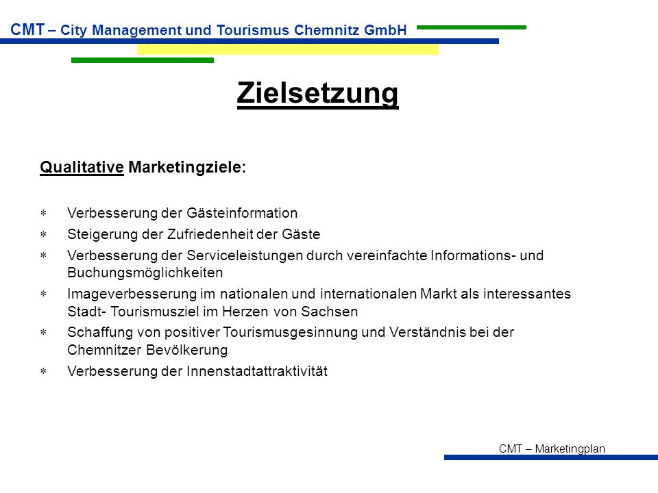 Zielsetzung Qualitative Marketingziele: