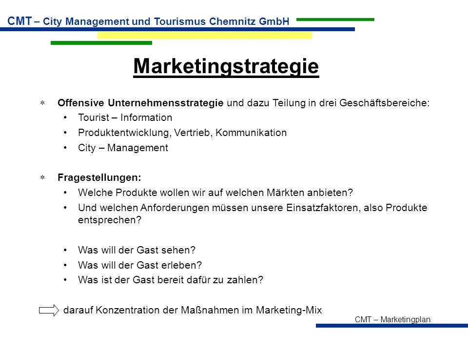 Marketingstrategie Offensive Unternehmensstrategie und dazu Teilung in drei Geschäftsbereiche: Tourist – Information.