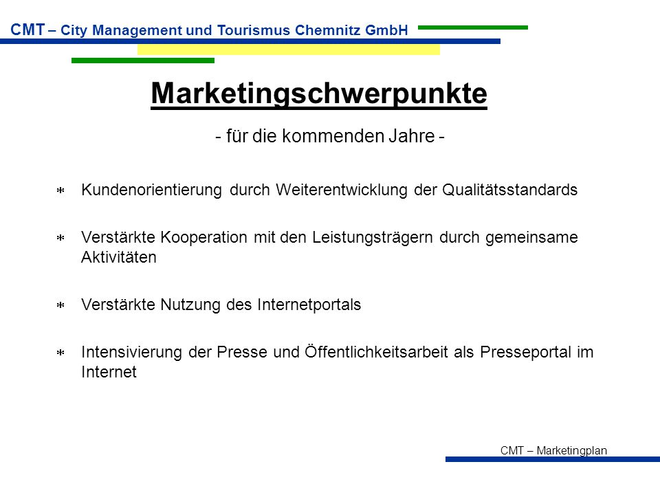 Marketingschwerpunkte