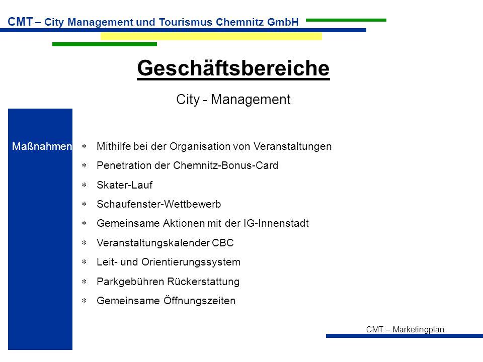 Geschäftsbereiche City - Management Maßnahmen