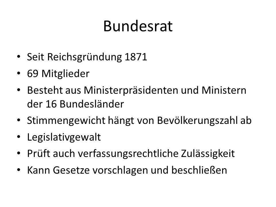 Bundesrat Seit Reichsgründung 1871 69 Mitglieder
