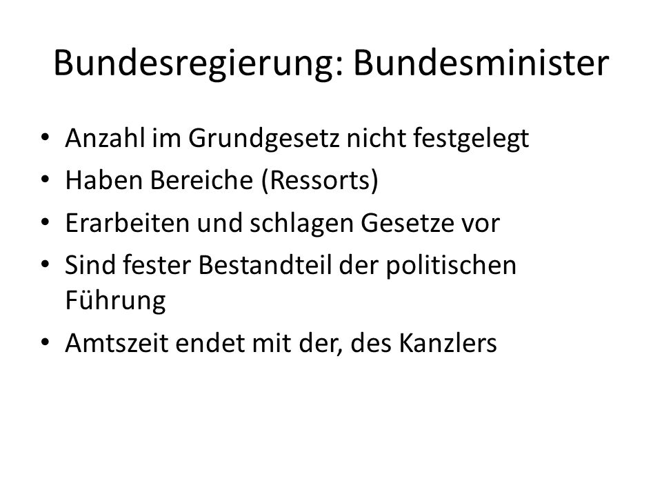 Bundesregierung: Bundesminister