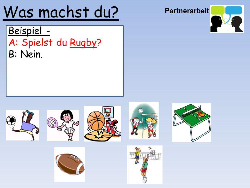 Was machst du Beispiel - A: Spielst du Rugby B: Nein. Partnerarbeit