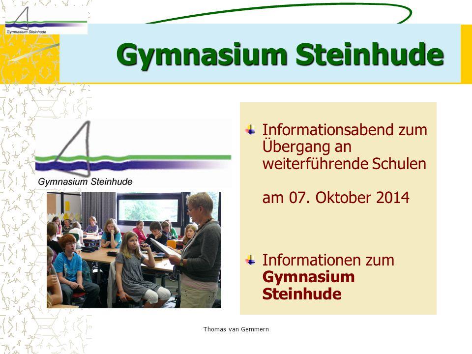 Gymnasium Steinhude Informationsabend zum Übergang an weiterführende Schulen am 07. Oktober 2014.