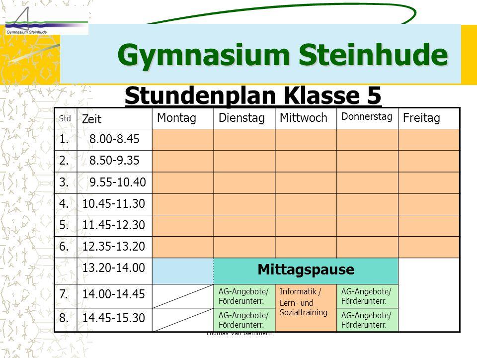 Gymnasium Steinhude Stundenplan Klasse 5 Mittagspause Zeit Montag