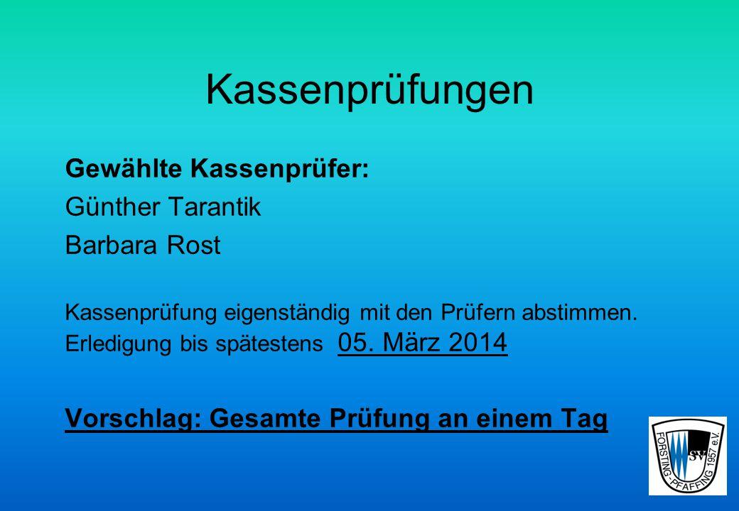 Kassenprüfungen Gewählte Kassenprüfer: Günther Tarantik Barbara Rost