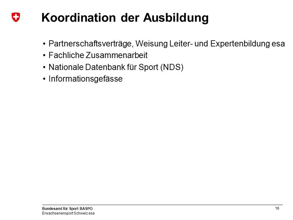 Koordination der Ausbildung