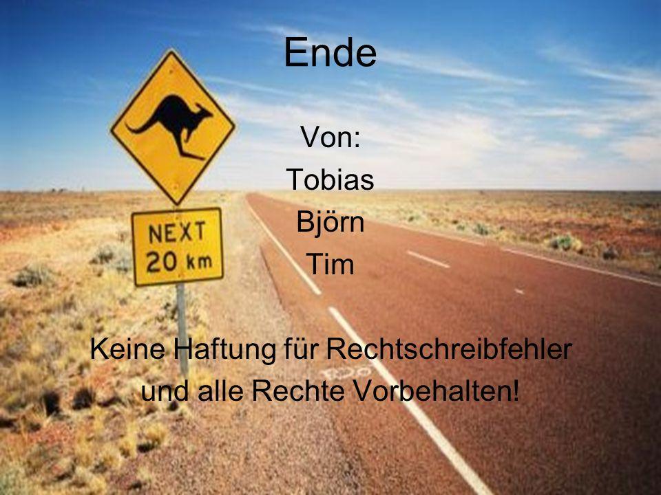 Ende Von: Tobias Björn Tim Keine Haftung für Rechtschreibfehler