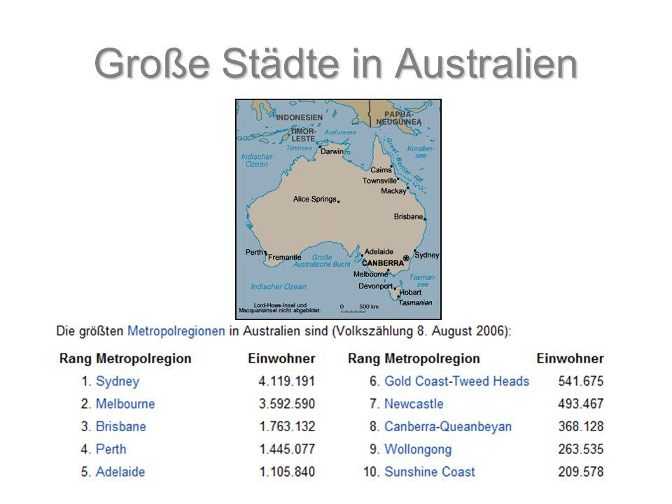 Große Städte in Australien