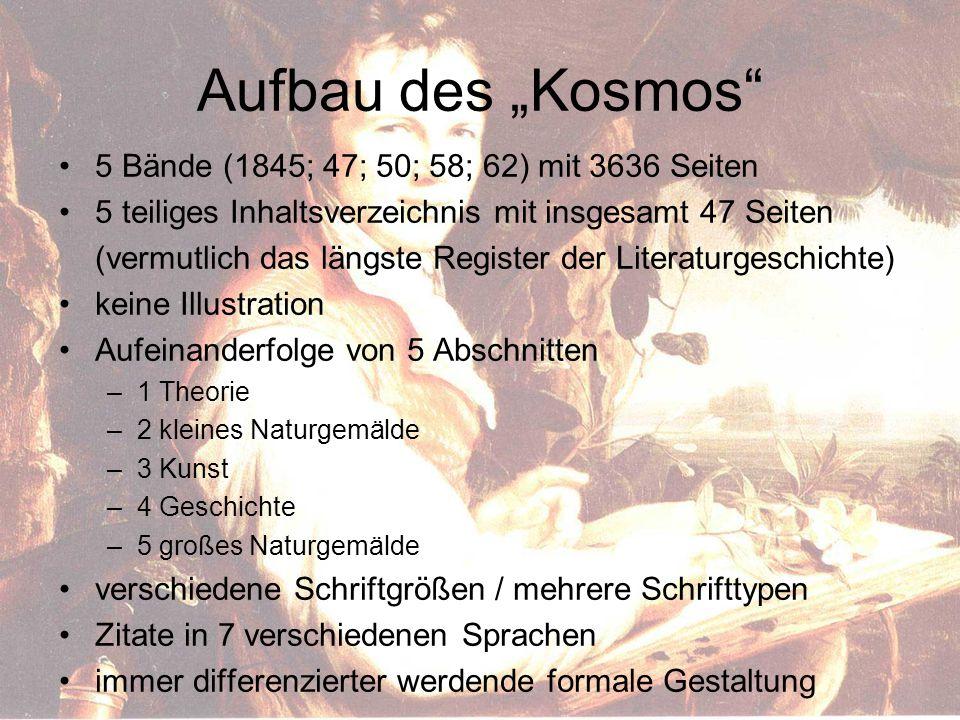 """Aufbau des """"Kosmos 5 Bände (1845; 47; 50; 58; 62) mit 3636 Seiten"""