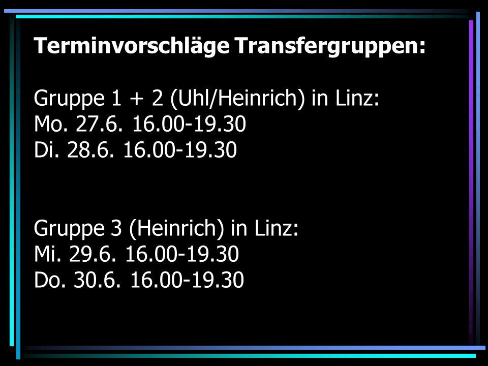 Terminvorschläge Transfergruppen: Gruppe 1 + 2 (Uhl/Heinrich) in Linz: Mo.