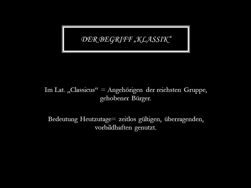 """Der Begriff """"Klassik"""