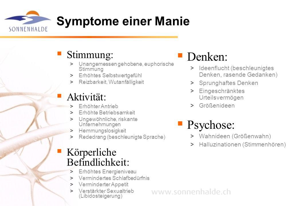 Symptome einer Manie Denken: Psychose: Stimmung: Aktivität: