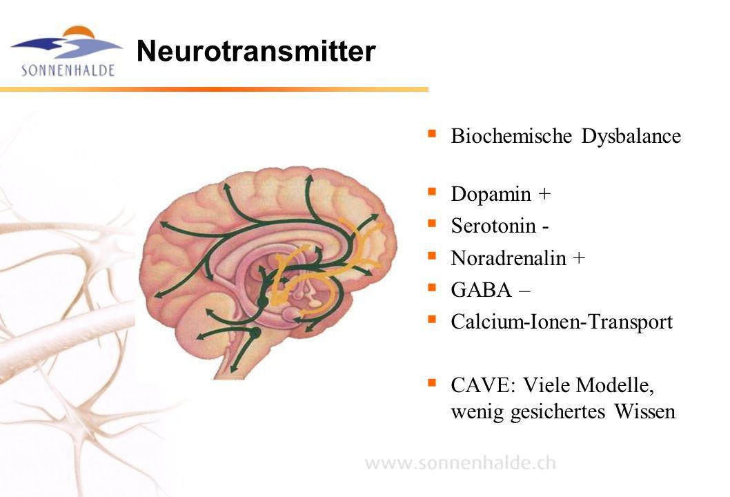 Neurotransmitter Biochemische Dysbalance Dopamin + Serotonin -