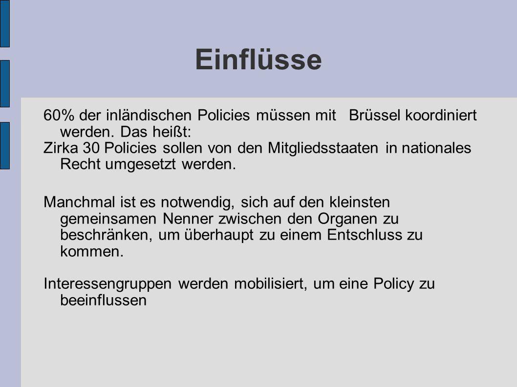 Einflüsse 60% der inländischen Policies müssen mit Brüssel koordiniert werden. Das heißt: