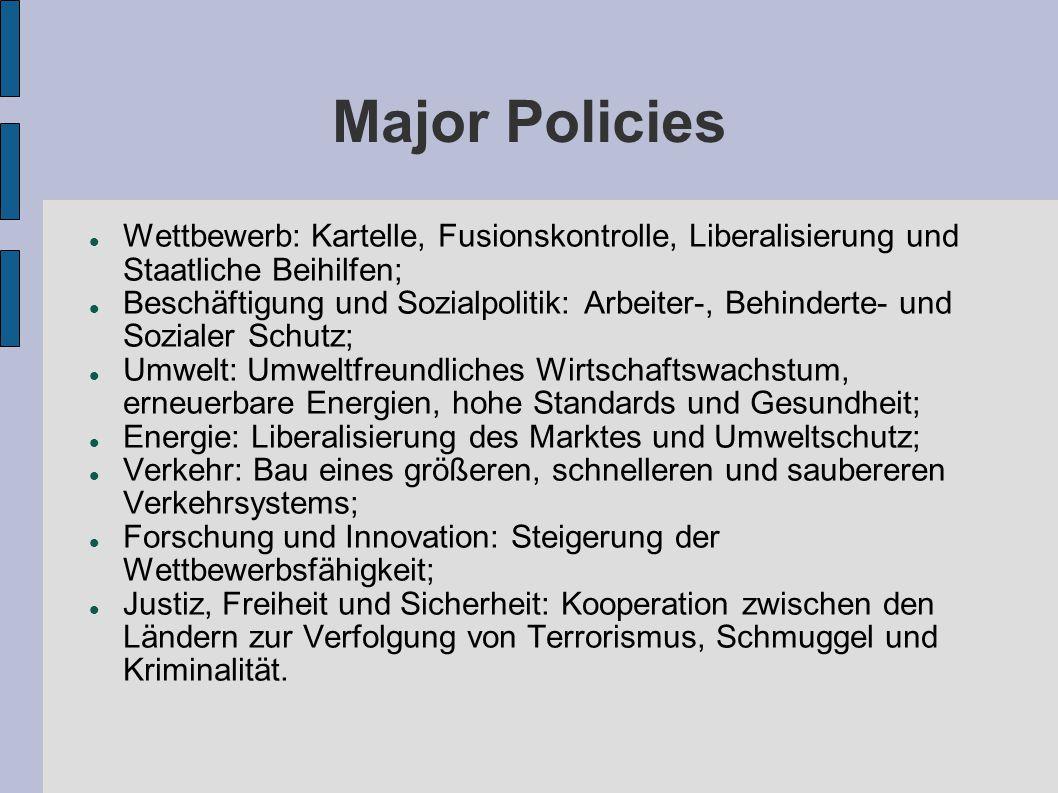 Major Policies Wettbewerb: Kartelle, Fusionskontrolle, Liberalisierung und Staatliche Beihilfen;