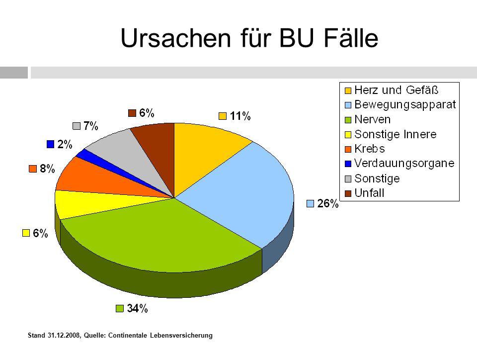 Ursachen für BU Fälle Stand 31.12.2008, Quelle: Continentale Lebensversicherung Stand: 31.12.2004